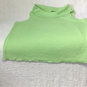 Green sleeveless blouse with mock cowl neckline 2X